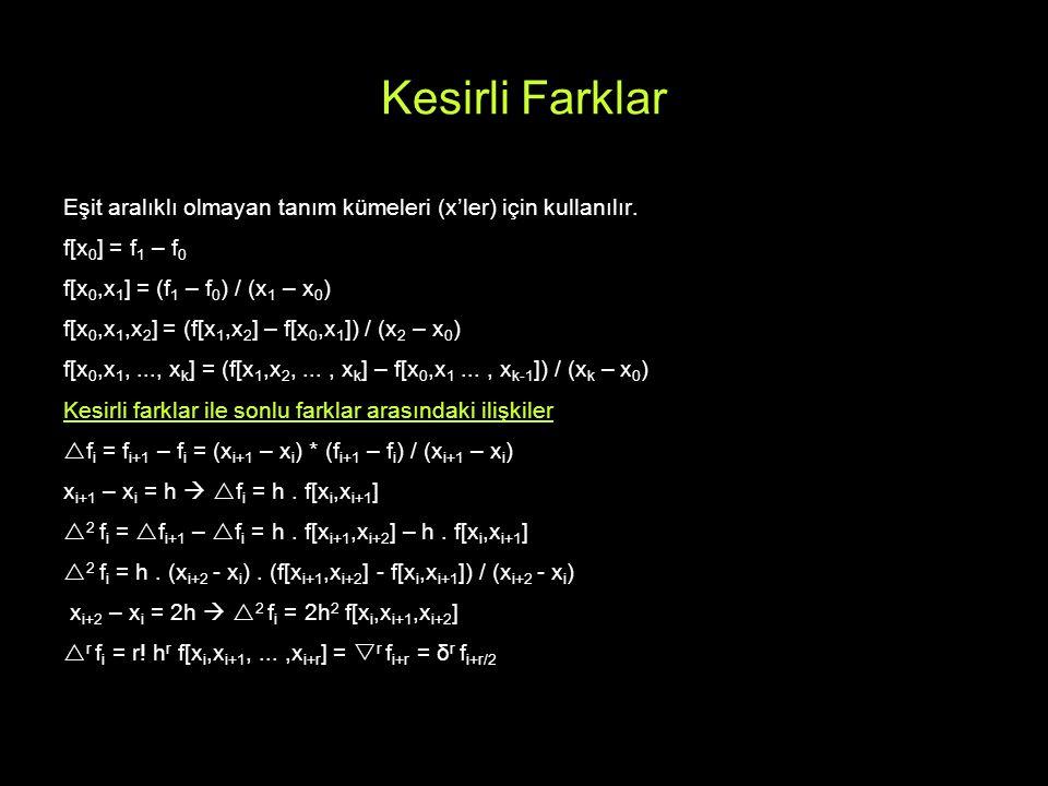 Kesirli Farklar Eşit aralıklı olmayan tanım kümeleri (x'ler) için kullanılır. f[x0] = f1 – f0. f[x0,x1] = (f1 – f0) / (x1 – x0)